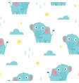 seamless pattern cute baelephant vector image vector image