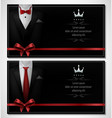 set of black tuxedo business card templates with vector image