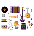 set of musical instruments for playing music and vector image