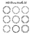 set of wild flowers wreaths isolated on white vector image vector image