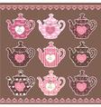 set vintage teapots vector image vector image