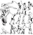 Skateboarding drawings vector image vector image
