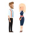 stylish businessmen cartoon man and woman vector image vector image