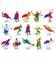 super heroes isometric people vector image vector image