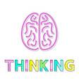 thinking process and brain icon colorful card vector image