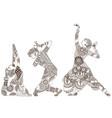 three indian dancers vector image vector image