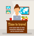 time to travel agency concept background flat vector image
