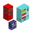Vending machines isometric set vector image