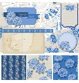 Vintage blue flowers vector | Price: 1 Credit (USD $1)