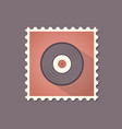 vinyl flat stamp with shadow retro style vector image vector image