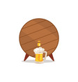 wooden barrel with tap and mug of beer vector image vector image
