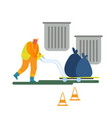 worker collect garbage on hand truck take out city vector image