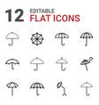12 umbrella icons vector image vector image