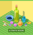 alternative medicine isometric composition vector image vector image