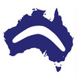 australia silhouette with boomerang vector image vector image