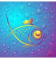 Background with abstract gold fish vector image