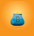 blue bitcoin wallet with coins isolated on vector image vector image