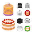 cake and dessert cartoonblackflatmonochrome vector image vector image
