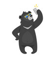 cartoon black cool bear vector image vector image