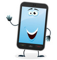 cartoon mobile phone character vector image