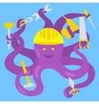 Cartoon octopus handyman vector image