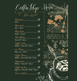 coffee shop menu with price list and pictures vector image vector image