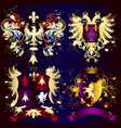 collection heraldic shields with golden swirls vector image