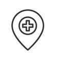 cross and pin location or navigation of clinic or vector image vector image