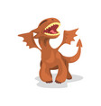 cute cartoon baby dragon with wings funny fantasy vector image vector image