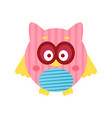 cute cartoon pink owl bird baby toy colorful vector image vector image