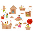 flat set of happy little kids in action vector image vector image