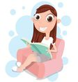 girl reading on sofa vector image
