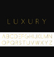 gold minimalistic font luxury english alphabet vector image vector image