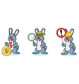 Gray Bunny Mascot with sign vector image vector image