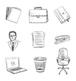Hand-drawn Office equipment icons vector image vector image