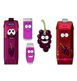 Happy black currant juice cartoon characters vector image vector image