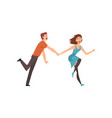 happy romantic couple running holding hands young vector image vector image
