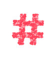 hashtag logo from hearts isolated on white vector image vector image