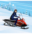 Man riding on a snowmobile vector image