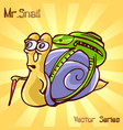 mr snail with traveler vector image vector image