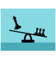 scales with chess pieces queen and pawns vector image