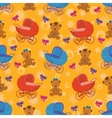 Seamless background bears and prams vector image