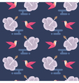 seamless pattern with flowers and hummingbirds vector image vector image