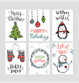 set christmas cards templates with hand drawn vector image vector image
