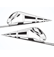 set modern high speed train silhouettes vector image