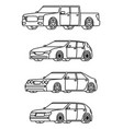 set of cars side view vector image vector image