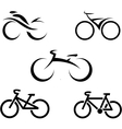 Set of icons with stylized bikes vector image