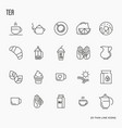 set tea and tea drinking related thin line icon vector image