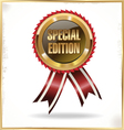 Special edition label with ribbons vector image