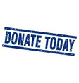 Square grunge blue donate today stamp